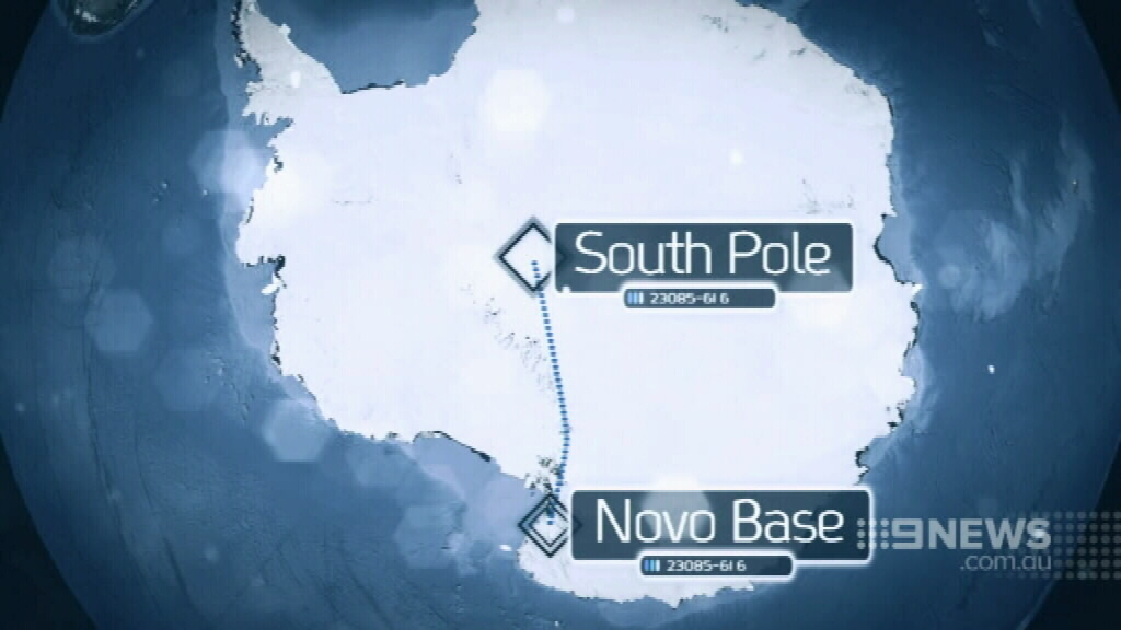 Mr Werb hopes to reach the South Pole and return to the Novo Base. (9NEWS)