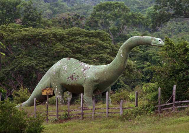 One of many statues of dinosaurs at Escobar's Hacienda Nápoles ranch. Source: AP