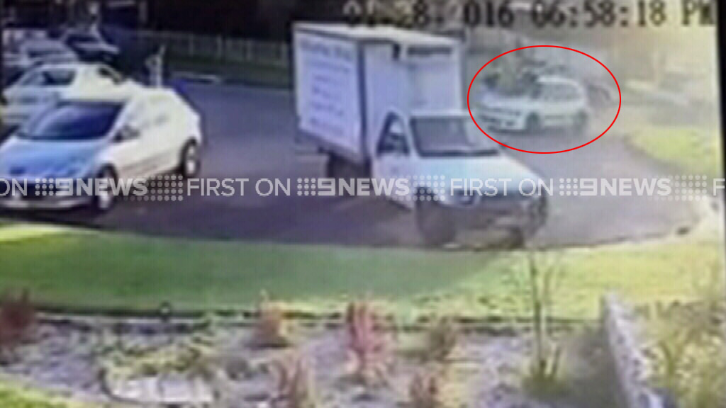 The car sped off after mowing down the group. (9NEWS)