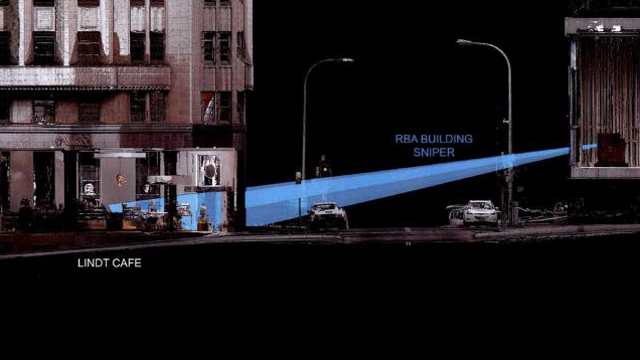 Diagram showing police sniper firing lines from RBA building towards the Lindt Cafe.