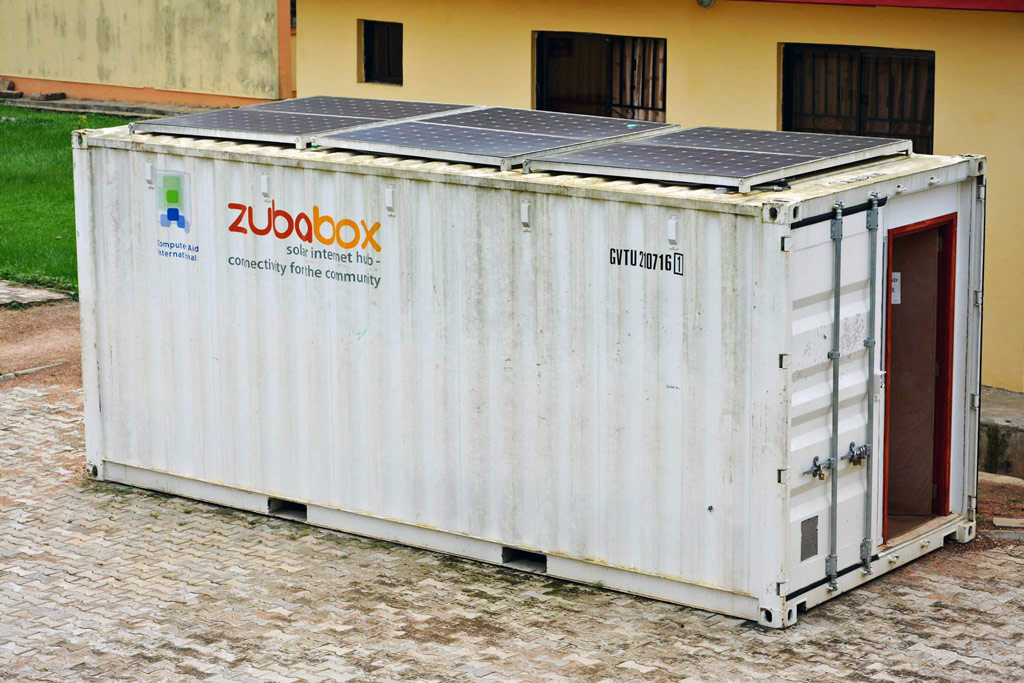 The ZubaBox comes equipped with desks, stools, refurbished computers, low-power lights and a ventilation fan. (Facebook/Computer Aid International)