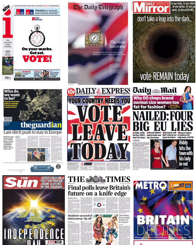 A flavour of some of the frontpages that the UK will wake up to on June 23