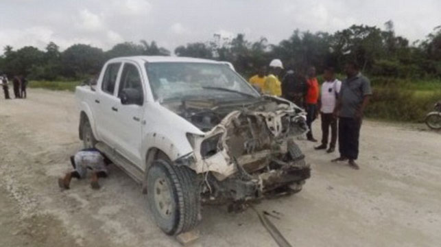 One of the cars involved in the ambush on Wednesday outside the city of Calabar.