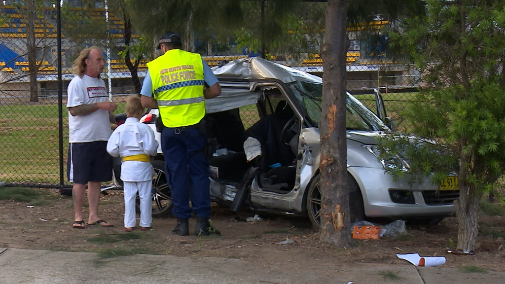 Driver flees after crashing stolen car into vehicle carrying young child in Sydney's west