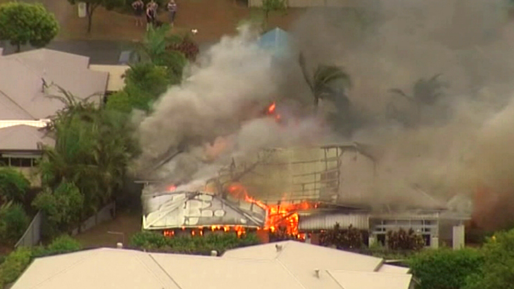 The house was engulfed in flames around 5.45pm. (9NEWS)