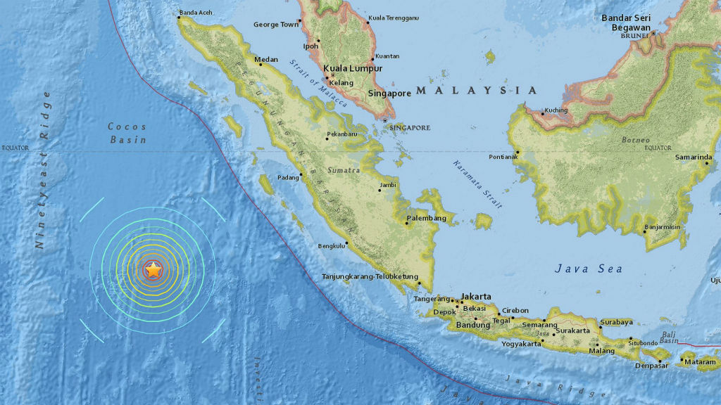 The earthquake's epicentre was 808km southwest of Penang.