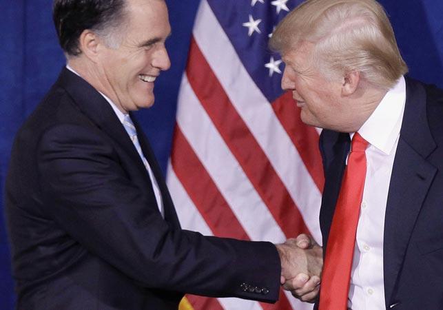Romney accepting Trump's endorsement in 2012. (AAP)
