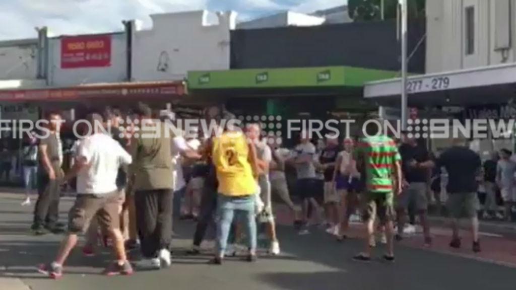 The brawl broke out on the street outside the Ritz Hotel in Hurstville. (9NEWS)