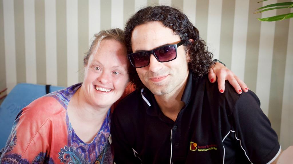 An UpClub member with coordinator Flavio Fernandez-Maldonado. (Ehsan Knopf/9NEWS)