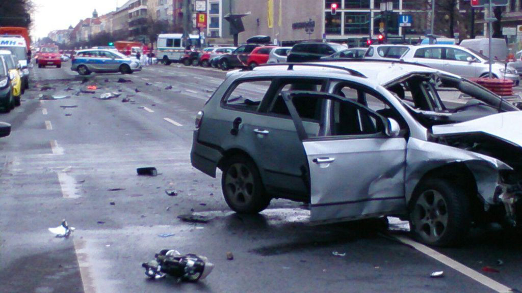 Berlin Police shared a photo of the damaged car on Twitter. (Twitter/@polizeiberlin)
