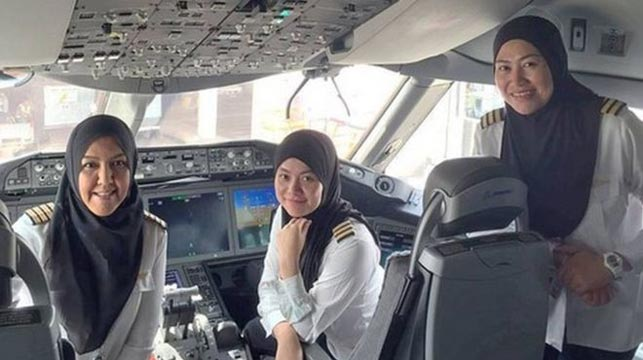 All-female crew flies to country women can't drive in