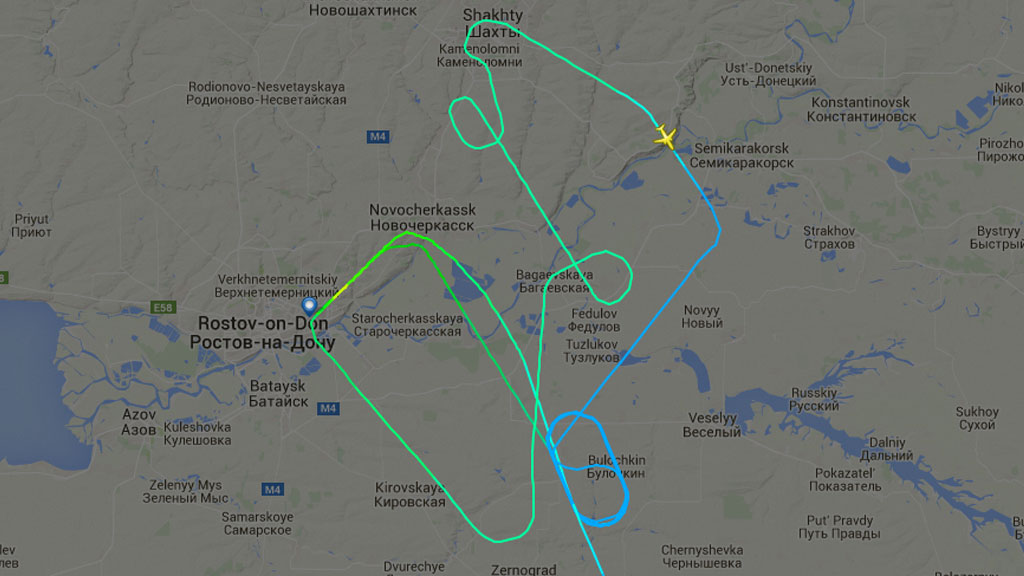 FlightRadar24 shows the aircraft aborting an attempt to land before circling for several hours. (FlightRadar24)