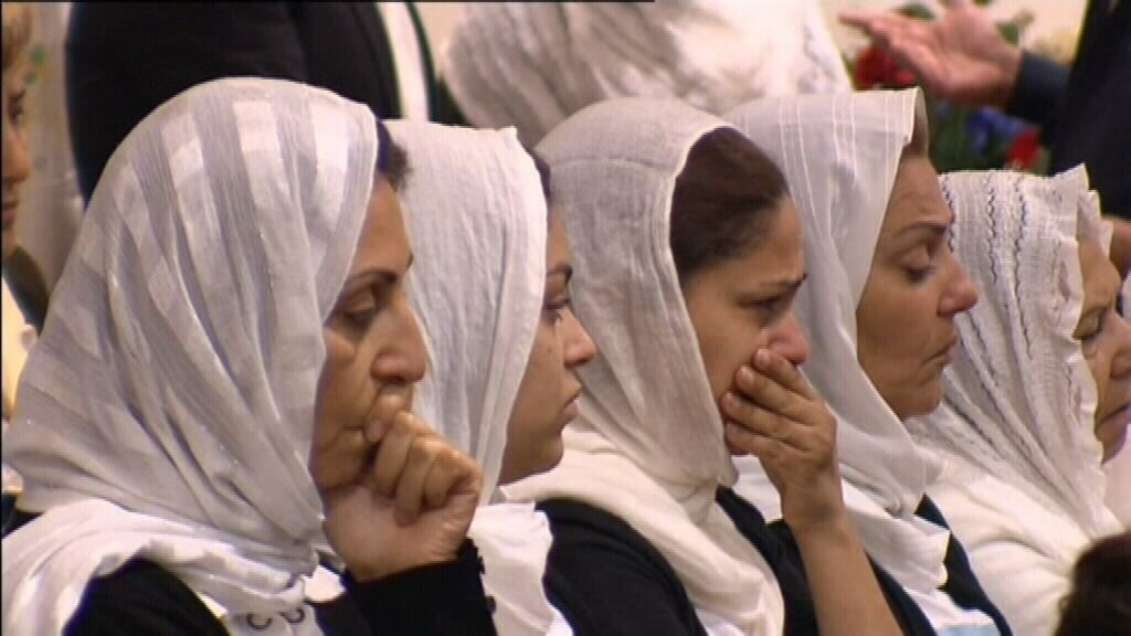 Family members were moved to tears at today's memorial service.