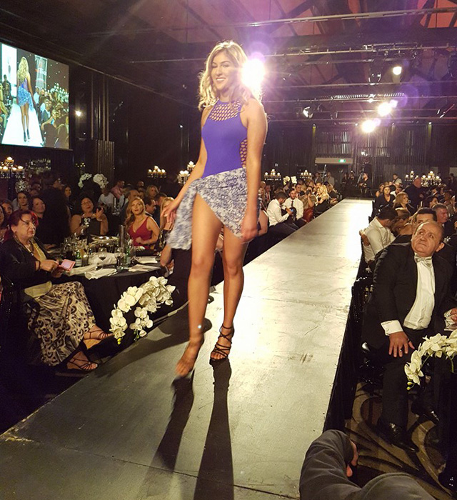 Mary Mehajir walks down the runway at at Doltone House in Pyrmont, Sydney. Source: Suzie Horani, Facebook