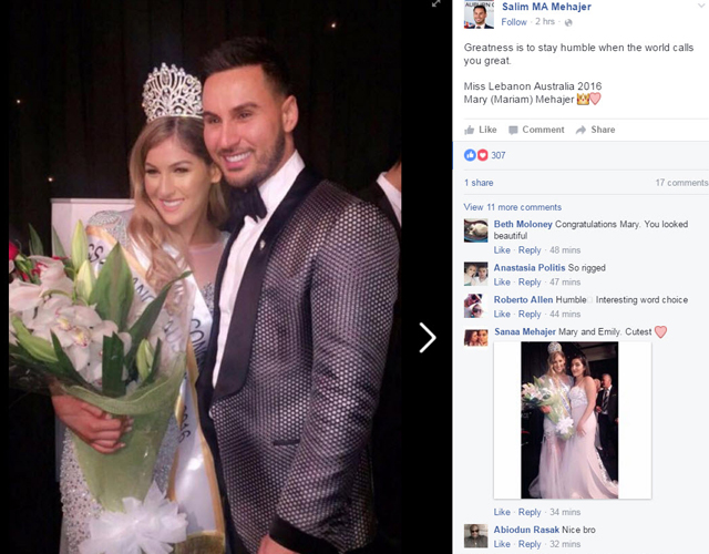 Salim Mehajir poses with his sister Mary at last night's beuty pageant in Sydney. Source: Facebook
