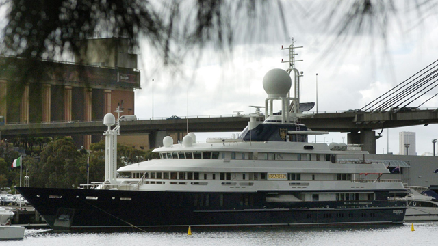 Reg Grundy's super yacht 'Boadicea' moored at Pyrmont in Sydney in 2005. In 2014, Grundy was 58th on the annual BRW Rich List, with an estimated fortune of $766 million.