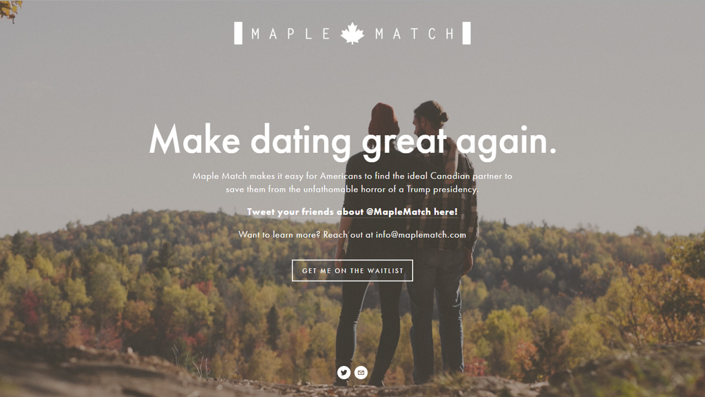 Dating website offers to help US residents escape Trump presidency by following their hearts to Canada
