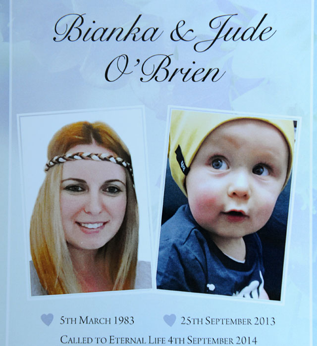 Photo of the order of service for the the memorial of Bianka and Jude O'Brien. Source: AAP