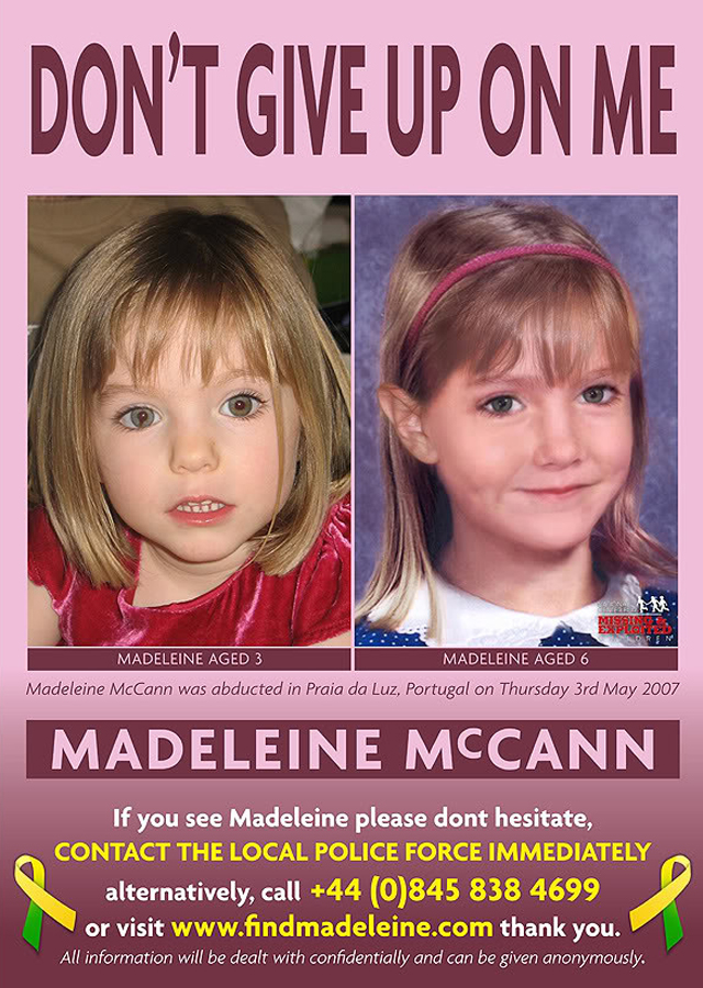 A poster released three years after Madeleine disappeared in 2007, with a picture of what Maddie may have looked like in 2010.