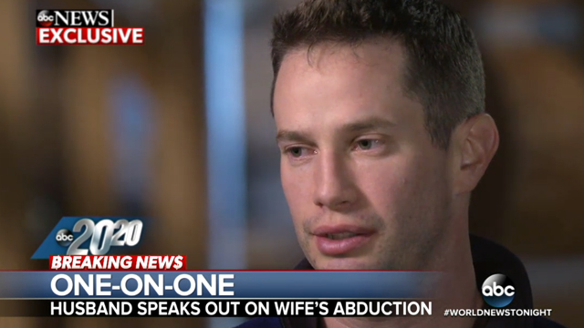 Keith Papini breaks down describing his wife's ordeal after alleged abduction while jogging. Source: ABC