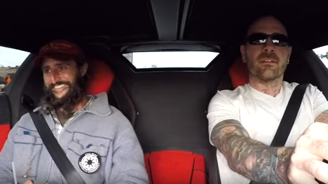 Alex can't hold back a grin as Chris Collins squeezes the gas pedal in the Lamborghini Aventador during the pair's original joyride. Source: YouTube