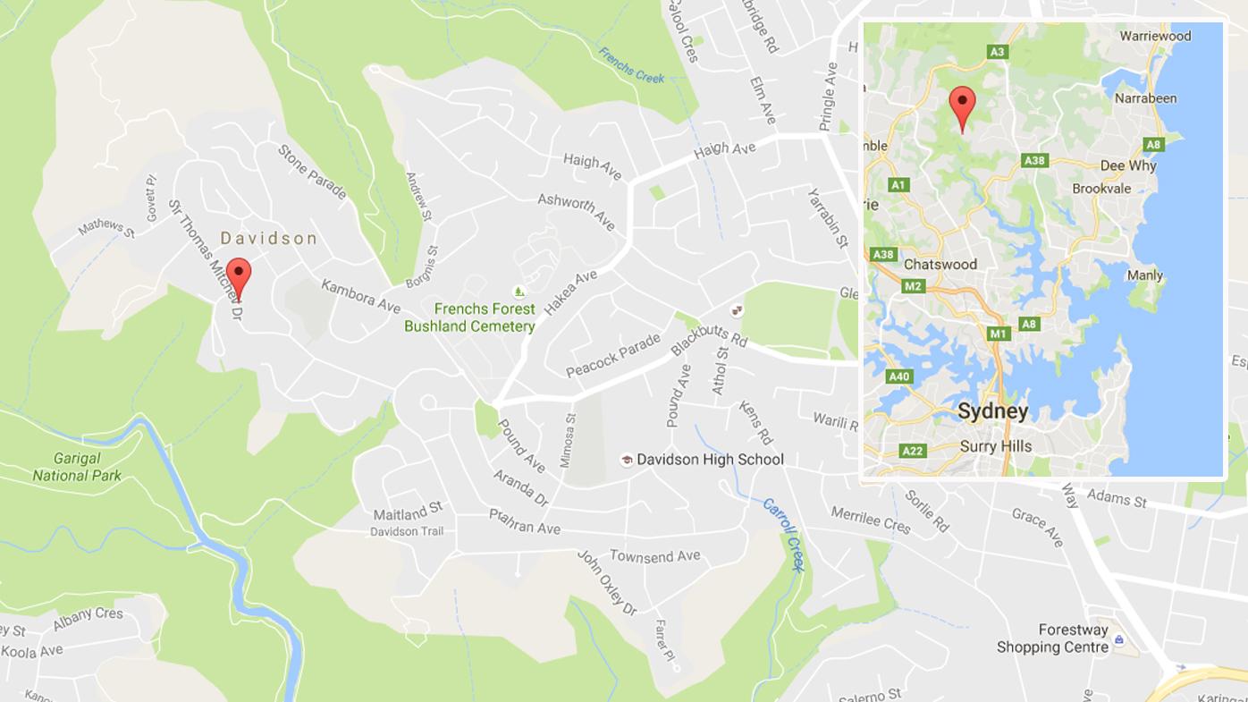 Location of the crime scene in Davidson, Sydney. Source: Google Maps / 9News