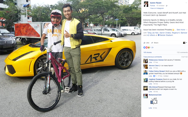All is forgiven: Keder and Qusyairl find common ground in super car stunt incident. Source: Facebook