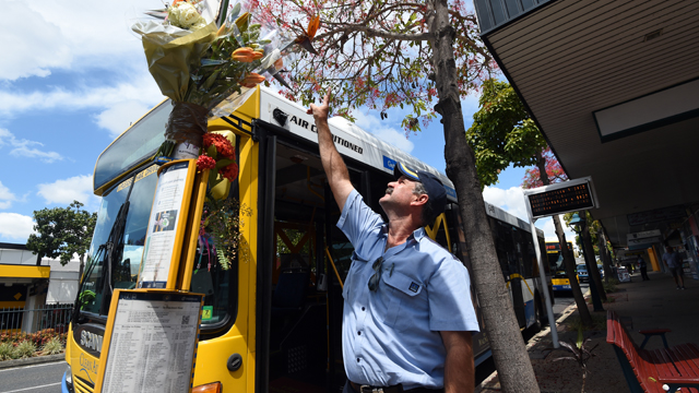 A bus driver pays his respects to fellow driver Manmeet Sharma at the bus stop where he was murdered in Morooka, Brisbane