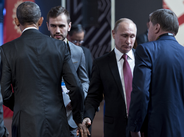 US President Barack Obama and Russia's leader Vladimir Putin exchanged a frosty greeting