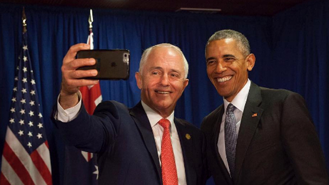 Mr Turnbull grabs a selfie with POTUS. Source: Instagram/Malcolm Turnbull