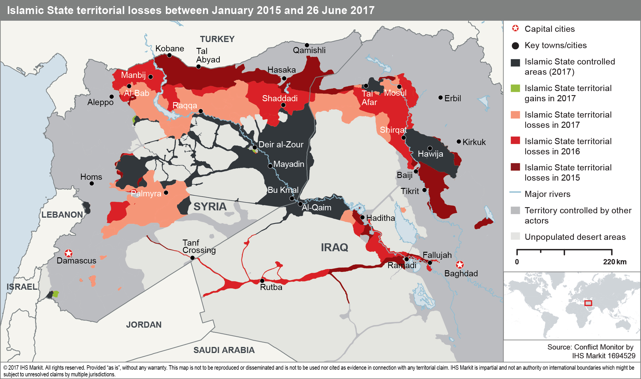 A map illustrating the loss of territory in the so-called caliphate in Iraq and Syria. Source: IHS Markit