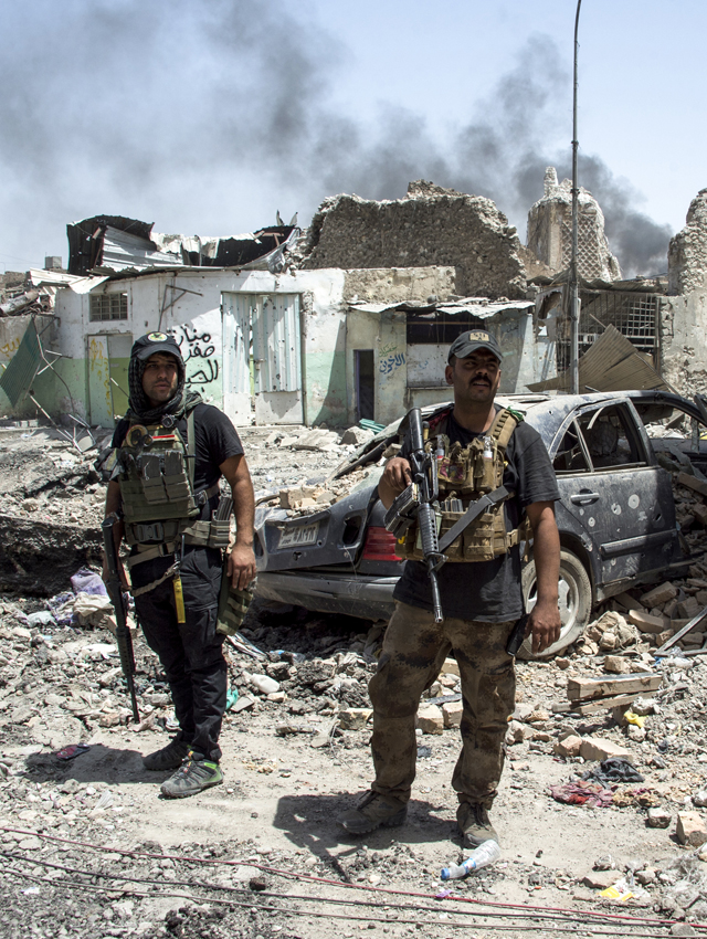 Iraqi Counter-Terrorism Service fighters in the Old City of Mosul during the offensive to retake the city from Islamic State