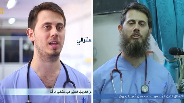 Tareq Kamleh was described by one former medical colleague as an 'average doctor'. Pictured in 2015 (left), on arriving in Syria, and 2017 (right) in July 2017 video.