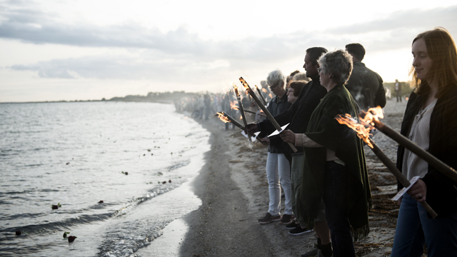 On August 31st 2017 a torchlight procession was held in memory of the deceased Swedish journalist Kim Wall who died on the u-boat UC3 Nautilus while writing a story about its inventor Danish Peter Madsen. (AFP)