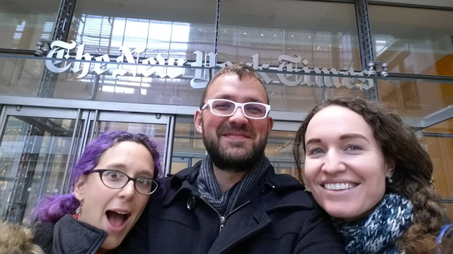 Megan Phelps-Roper (right) with friends Laura and Dustin Floyd outside The New York Times office. Source: Facebook
