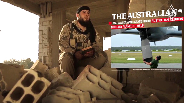 An article from The Australia, highlighting Australia's involvement in the Marawi combat, appears in the IS video. (Supplied)
