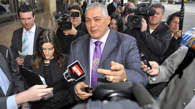 Gangland figure Mick Gatto leaves the Melbourne Magistrates Court surrounded by media in 2010. Gatto was appearing in court on drink driving charges.