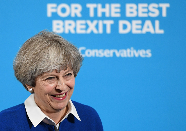 Britain's Prime Minister, and Leader of the Conservative party, Theresa May delivers a general election campaign speech in Wolverhampton