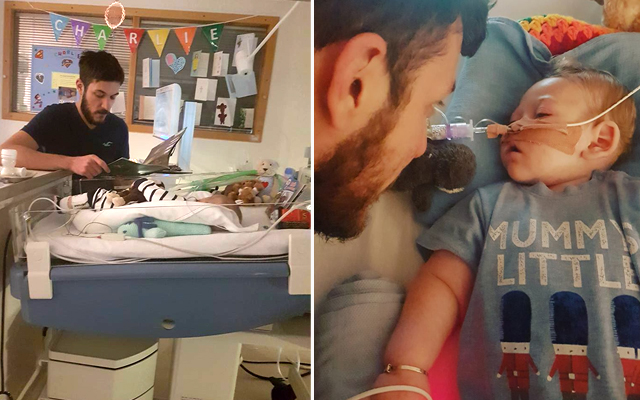 Chris Gard spends time with little Charlie in hospital. Photo: Facebook