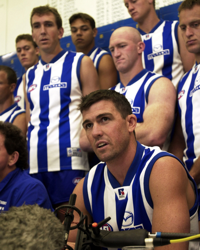 The Kangaroos AFL Football club announces that Anthony Stevens (right) would be the new team captain for the 2002 season. The announcement came after Wayne Carey quit the club.