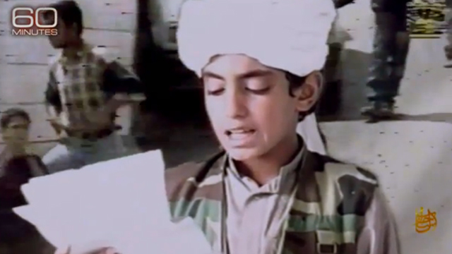 A young Hamza bin Laden appears in an archived al Qaeda propaganda video. Source: 60 Minutes