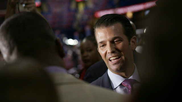 Donald Trump Jr before the start of the second day of the Republican National Convention at Quicken Loans Arena in Cleveland, Ohio