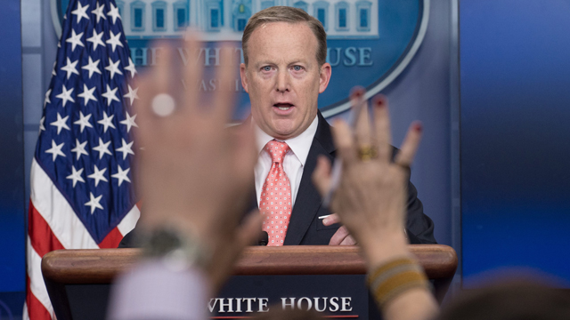 Gaffe-prone Sean Spicer shuffled away from podium as Trump's patience runs out