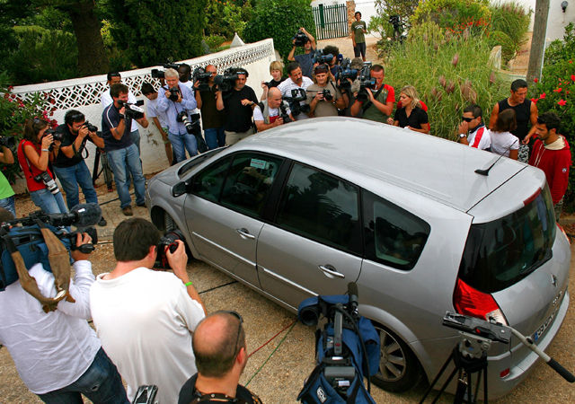 Media surround the McCann family car as it leaves the apartment in Praia da Luz with the twins September 8, 2007 in the Algarve, Portugal.