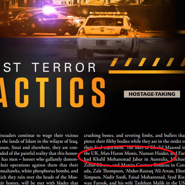 Man Haron Monis, Numan Haider, and Farhad Jabar are all mentioned in the opening paragraphs of 'Just Terror Tactics' feature. Source: Clarion Project