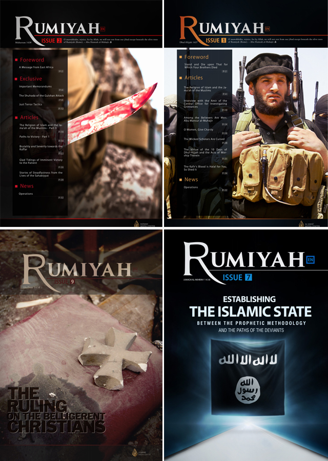 A collection of Rumiyah covers, the slick multi-language propaganda magazine produced by ISIS. Source: Clarion Project