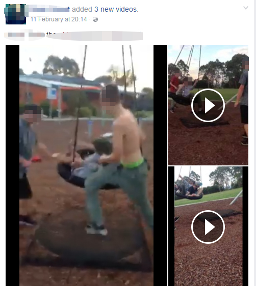 Three videos posted to the Facebook account of one of the accused attackers was a lightning rod for abuse. Source: Facebook