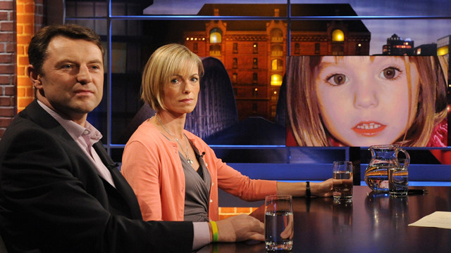 """Gerry (L) and Kate McCann, whose daughter Madeleine went missing from her family's holiday flat in the Algarve shortly before her fourth birthday in 2007, attend the recording of the """"Beckmann"""" TV show where they presented their book 'Madeleine' on September 15, 2011 in Hamburg, Germany."""