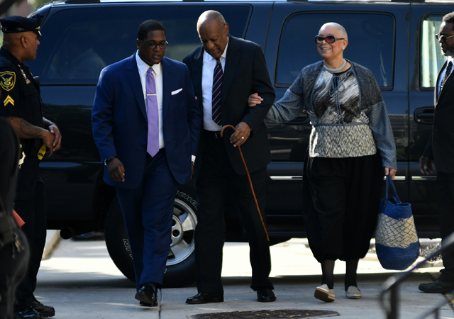 Bill Cosby, with wife Camille Cosby on his side, arrive at Montgomery County Courthouse