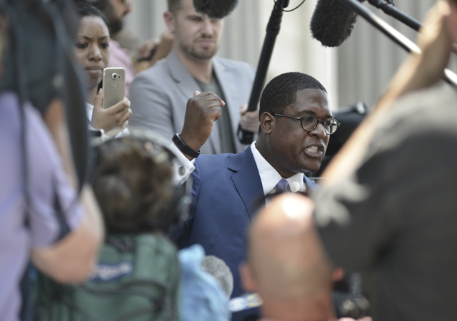 Andrew Wyatt, spokes person for Bill Cosby gives a reaction as the defense rests on the sixth day of the Bill Cosby sexual assault trial